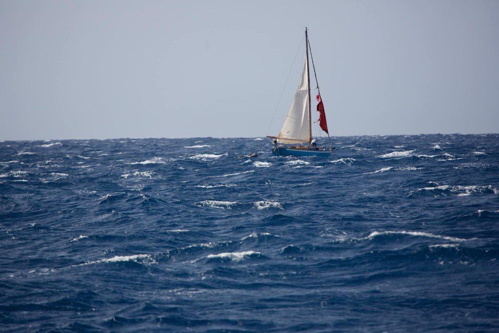 порванный парус яхта